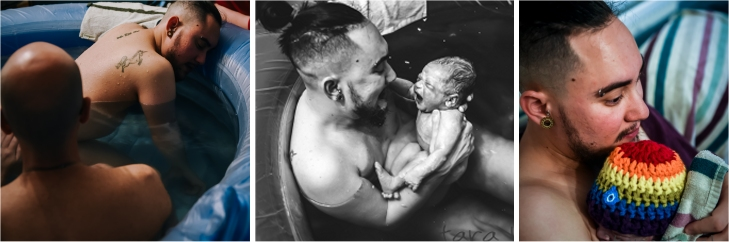 Three photos of Yuval - 1, Yuval in the birth pool leaning over the pool with Matan behind him. 2, Yuval holding a newborn Tig in his arms and smiling at him while still in the pool. 3, Yuval cuddling Tig who is wearing a rainbow hat.