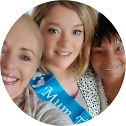 Photograph of Sharon, Sharon's daughter (Cillian's mum) and Sharon's aunt. Sharon's daughter is wearing a blue sash which says 'mum to be'.