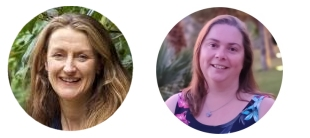 Photographs of Sophie (left) and Emma (right). Sophie is a white woman with long, mid brown hair. Emma is a white woman with shoulder length brown hair. Both are smiling at the camera.